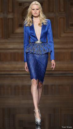 tony ward couture fall 2016 blue jacket mini dress (02) mv