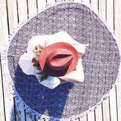 "Round beach towel ""Bulati"" Handmade in Bali 150 Beach Towel, Bunt, Creative, My Love, Hats, Handmade, Products, Summer Accessories, The Last Song"