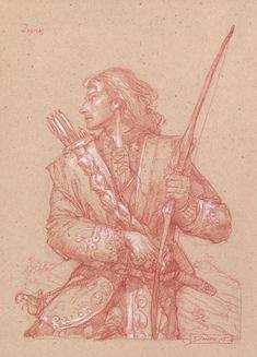 """Legolas at Amon Hen""      10"" x 14"" colored pencil on toned paper  © 2005 Donato Giancola    private collection"