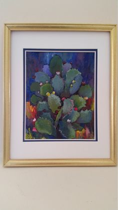 Original Acrylic Painting of a Prickly Pear - Gold Frame - Double Mat Blue and White by PotsandPetticoats on Etsy