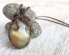 Agate Pendant, Wire Wrapped Pendant, Antique Copper Necklace, Fantasy Necklace, Wire Wrapped Jewelry, Vintage Style Pendant, Wire Wrap Stone