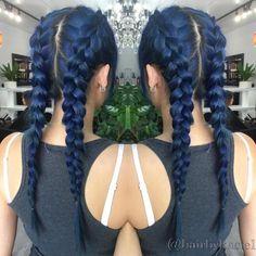 Dark Blue Pigtails