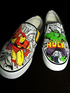 *dies* these are amazing. Vans Sneakers, Custom Sneakers, Vans Shoes, Marvel Shoes, Marvel Clothes, Custom Vans, Custom Shoes, Hulk, Black Slip On Shoes