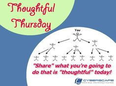 """It's """"Thoughtful Thursday""""! Share your ideas of ways we can """"pay it forward"""" for someone else today at https://www.facebook.com/cyberscape.ca"""