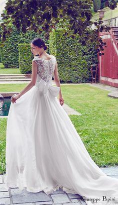 Giuseppe Papini 2017 (portofino) cap sleeve illusion back a line wedding dress bv romantic #wedding #bridal #weddingdress