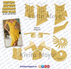 KiVita MoYo : VESTIDO IMPERIO ANUDADO CON OLAN Sewing Hacks, Sewing Tutorials, Sewing Projects, Pattern Cutting, Pattern Making, Dress Sewing Patterns, Clothing Patterns, Fashion Sewing, Diy Fashion