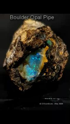 Ironstone pipe Opal from Queensland , Australia . Queensland Australia, Opals, Bouldering, Crystals, Amazing, Stones, Minerals, Rosary Beads, Opal