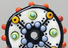 Zuma Wheel in CreamHandmade Lampwork Glass Bead by beadygirlbeads, $29.00