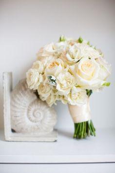 Talia and Jeffrey's wedding || Donna Morgan blog || White rose bridal bouquet