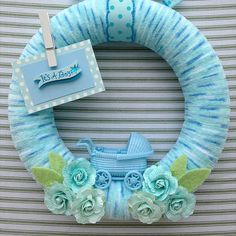 Baby Boy Wreath Its A Boy Wreath Baby Shower by TweetTweetWreaths Baby Door Wreaths, Baby Boy Wreath, Mesh Wreaths, Tulle Wreath, Floral Wreaths, Burlap Wreaths, Shades Of Light Blue, Baby Buggy, Polka Dot Paper