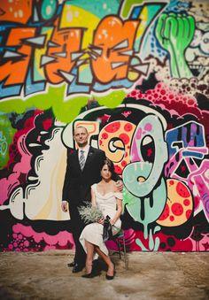 City graffiti wedding pics