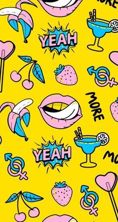 wallpaper rosa, azul e amarelo. coração, banana, colors, morango. #wallpaper #planodefundo Navy Wallpaper, Pop Art Wallpaper, Emoji Wallpaper, Cute Wallpaper Backgrounds, Computer Wallpaper, Aesthetic Iphone Wallpaper, Disney Wallpaper, Lock Screen Wallpaper, Aesthetic Wallpapers