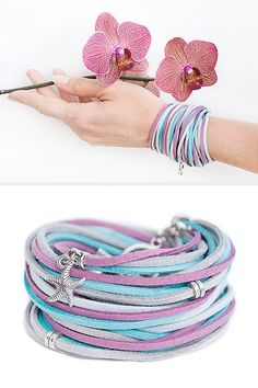 Gentle Orchid bracelet //  // Ladies Summer Bracelet // Double Wrap Suede bracelet // Boho // Handmade Jewelry / Gift for her / Casual style