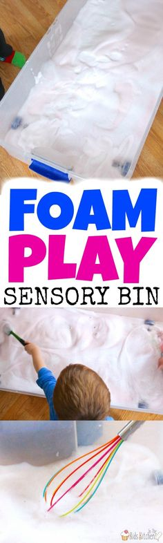 Easy set-up, virtually mess free, and quick clean up make this Soap Foam Sensory Bin an awesome indoor kids activity! Keep 'em busy for hours of clean play!