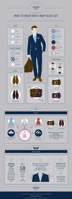 Nothing is more versatile than a navy blue #suit. Here are some ways to effortlessly wear one #style #menswear #infographic