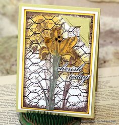 Card by Connie Mercer using Darkroom Door Inky Irises Collage Stamp, Chicken Wire Background Stamp and quote from Wings Rubber Stamp Set.