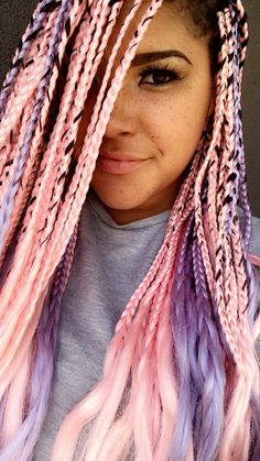 Pink and lavender box braids #coloredboxbraids #pastels