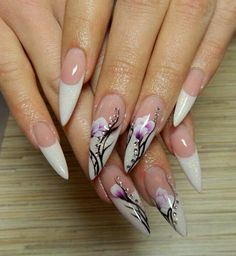 White french stilettos with one stroke flowers