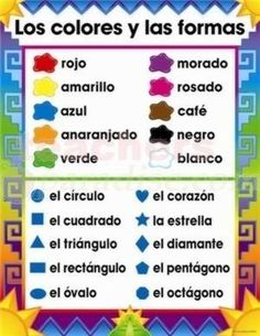 "Spanish Color Words Worksheet | Chartlet Spanish Colors And Shapes (17"" X 22"") from TeachersParadise ..."