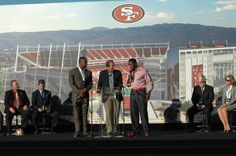 Vernon Davis and Patrick Willis at groundbreaking ceremony for 49ers new stadium in Santa Clara. Love Willis' red shoes.