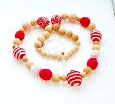 Heart Nursing/teething necklace  Pastel tone by MiracleFromThreads, $30.00