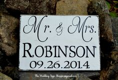 Hand Painted Distressed Custom Wedding Wood Sign Personalized Wedding Gift Reception Decor Mr and Mrs Signs Last Name Date Rustic Chic Elegant Vintage Inspired Romantic Plaque Bride and Groom Gift Home Décor Wall Art