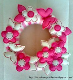felt pink and white flowers with buterflies yarn door wreath for babygirl