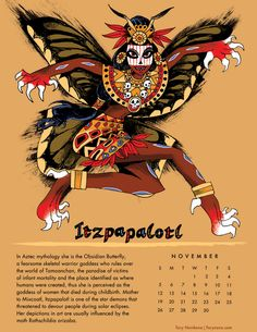 Part of the illustrated Powerful Women for 2017 calendar by Tory Novikova Itzpapalotl, aztec obsidian butterfly. Part of the illustrated Powerful Women for 2017 calendar by Tory Novikova Mayan Tattoos, Ancient Aztecs, Aztec Culture, Aztec Calendar, Aztec Warrior, Mexico Art, Aztec Art, Mesoamerican, Gods And Goddesses