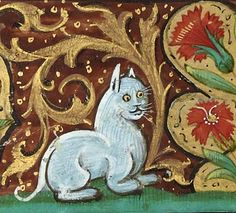 White cat, book of hours, France after 1500 (Bibliothèque de l'Arsenal, Ms 654, fol. 5r)