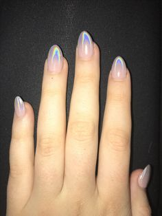 holographic ombre nails almond