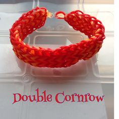 Red & orange Double Cornrow bracelet, made on 2 forks (design: Cheryl Mayberry)