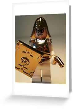 """""""'The Golden Man' Super Villian Custom LEGO® Minifigure, by 'Customize My Minifig'"""" Greeting Cards & Postcards by Chillee 