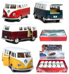 "Save $18.00 on 12 pcs in Box: 5"" Classic 1962 Volkswagen Van 1:32 Scale (Green/Maroon/Red/Ye...; only $41.88"