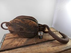 Vintage CAST IRON Wood Pulley Barn Rope Industrial Hay Myers Tool Nautical Pully