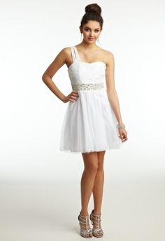 Prom Dresses 2013 - Short One Shoulder Dress with Beaded Waist from Camille La Vie and Group USA