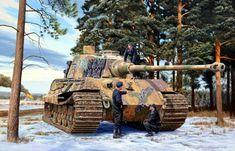 Pinturas de tanques: Segunda Guerra Mundial Tiger Ii, Military Diorama, Military Art, Military History, Tank Wallpaper, Tank Warfare, Luftwaffe, Military Drawings, Tiger Tank