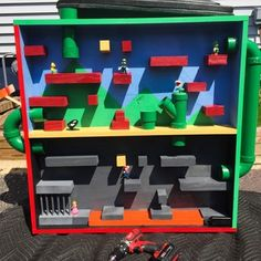 Super Mario play house I made for my sons birthday. Super Mario Room, Super Mario Kunst, Super Mario Art, Mario Crafts, Fun Crafts, Crafts For Kids, Pokemon Birthday, 5th Birthday, Nintendo Party
