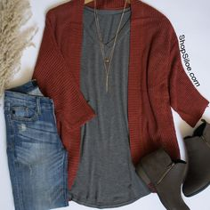 Rust Cardigan • Basic Tee • Booties • Denim • R E P E A T *Cardigan Available In 5 Colors. **Fast, FREE shipping!**