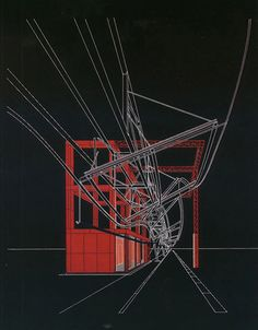 Marvellous drawings of Parc de la Villette  by Bernard Tschumi.later influence of constructivism. RED 1982