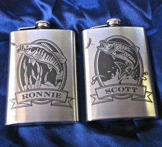 PERSONALISED ENGRAVED FLY FISHING HIP FLASK Angler River Scene Mens Angling Gift