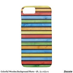 Colorful Wooden Background Photo - iPhone 7 Case  #zazzle #iphone7case #smartphone #phone #apple #colorful #woodenbackground #wooden #background