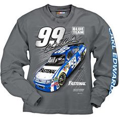 Product ID: CF1297799  #99 Carl Edwards Fastenal Men's Grey Long Sleeve Tee Shirt This Carl Edwards men's long sleeve tee is a dark oxford gray with a front screen print graphic of the drivers NASCAR sprint cup car, sponsor, signature and number. The left sleeve features a print with the driver's name. Sizes available are Mens: Medium thru 3 XL. $28.00 #NASCAR find more #99carledwards merchandise @ www.nascarshopping.net