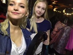 Dove Cameron with a fan after Mamma Mia.