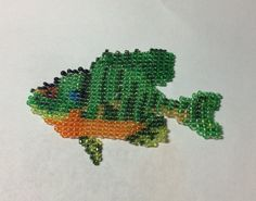 Seed Bead Bluegill Fish Unique Hat or Vest Accessory Decoration Handmade Art Beadwork - pinned by pin4etsy.com