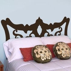 king Size Bed special curly Headboard Wall Decal wall by xxddshop, $32.00