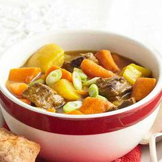 Fireside Beef Stew with Root Veggies: A little cranberry juice adds sweetness to this hearty stew.