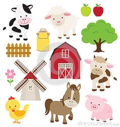 Illustration about Vector Collection of Cute Cartoon Farm Animals and Barn. Illustration of barnyard, barn, black - 38725503 Party Animals, Farm Animal Party, Baby Farm Animals, Barnyard Party, Farm Party, Barnyard Animals, Farm Birthday, Animal Birthday, Birthday Parties