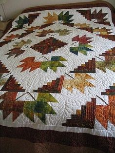 Pretty fall Log Cabin Blocks plus leaves!                              …