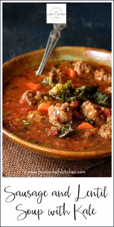 Sep 2019 - Sausage and Lentil Soup with Kale is perfect for when all you want to do is wrap yourself up in some comfies and just enjoy a good, hearty bowl of flavorful goodness! Lentils And Sausage, Lentil Sausage Soup, Soup With Lentils, Green Lentils, Lentil Kale Soup, Lentil Soup Recipes, Kale Sprouts, Kale Kale, Sauteed Kale