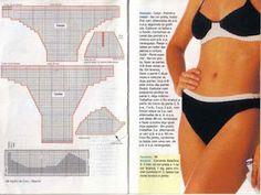 Black and white bikini set with diagram
